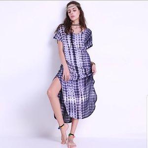 Tie Dye Oversized Maxi Dress Blue/White NWT